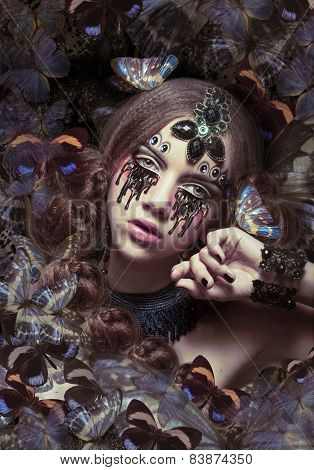 Inspiration. Woman with Fantastic Teardrops and Butterflies poster