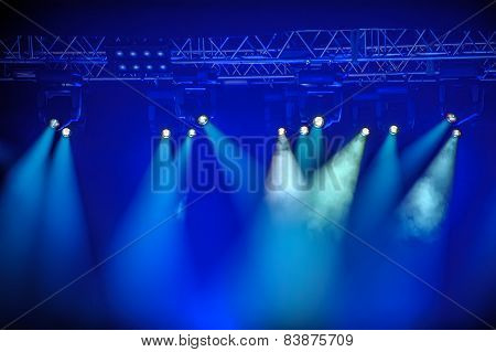 Blue Spotlights On Stage