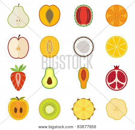 Vector fruit icon set - pear, peach, apricot, watermelon, orange, Apple, melon, coconut, lemon, stra
