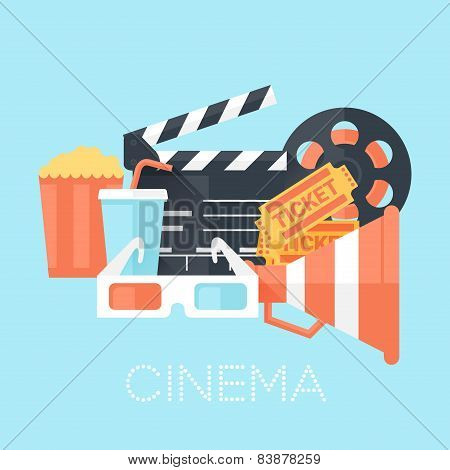 Cinema Poster With 3D Glass, Megaphone, Tickets, Bobbin, Clapper Board, Popcorn And Drink. Flat Styl