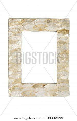 Nacreous Shell Picture Frame, Isolated On White