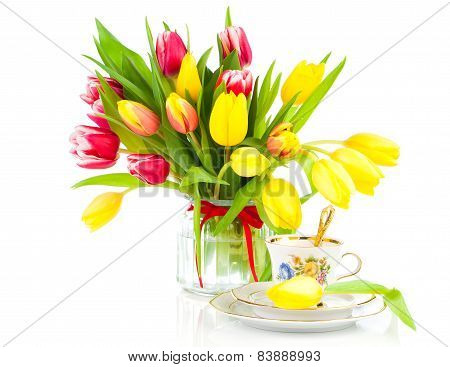 Yellow Tulips Flowers With Cup Tea, On A White Background. Breakfast For Mommy, Happy Mothers Day, M