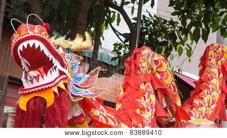 Chinese Dragon On Street Festival