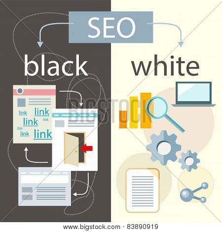 SEO optimization, programming process and web analytics elements in flat design. White hat and black hat search engine optimisation poster