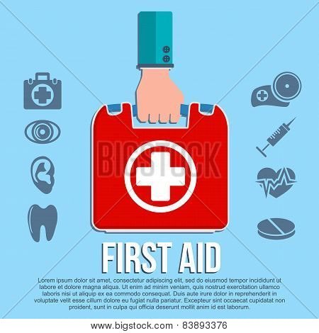 First aid kit concept with hand holding medicine chest with cross and healthcare icons flat vector illustration poster