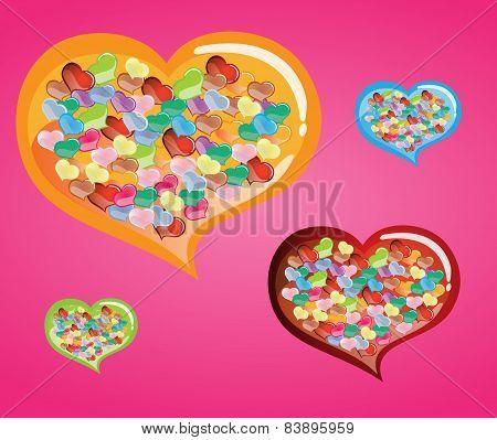 Heart Confetti With In Big Colurful Heart