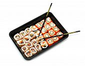 Big colorful sushi set and chopsticks on white poster