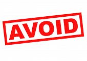 AVOID red Rubber Stamp over a white background. poster