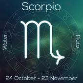 Zodiac sign - Scorpio. White line astrological symbol with caption dates planet and element on blurry abstract background with astrology chart. poster