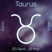 Zodiac sign - Taurus. White line astrological symbol with caption dates planet and element on blurry abstract background with astrology chart. poster