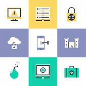 Flat line icons of cloud data protection system database security information computer safety access mobile phone key lock. Infographic icons set logo abstract design pictogram vector concept. poster