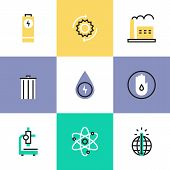 Flat line icons of world energy conservation global warming recycle bin clear water consumption power plant production. Infographic icons set logo abstract design pictogram vector concept. poster