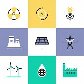 Flat line icons of global production of renewable energy green power saving efficiency solar panel and atomic power plant. Infographic icons set logo abstract design pictogram vector concept. poster