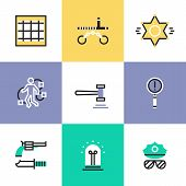 Flat line icons of police crime scene law criminal procedure justice gavel detective investigation finding evidence process. Infographic icons set logo abstract design pictogram vector concept. poster