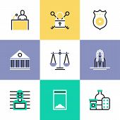 Flat line icons of suspected drug dealer courtroom scene criminal process scales of justice jail locker courthouse building. Infographic icons set logo abstract design pictogram vector concept. poster