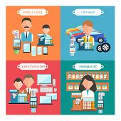 Flat design concept of car shop, mobile atore, pharmacist and computer store wit item icons on four multicolor banners poster