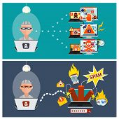 Computer crime in flat design concept. Criminal using computer to commit crime. Hacker activity viruses hacking and e-mail spam poster