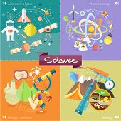Soil Layers with dinosaur fossil. Space and astronomy. Physics energy. Laboratory workspace and workplace concept. Chemistry, physics, biology. Concept in flat design cartoon style on stylish background poster