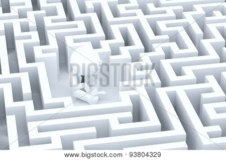 A desperate businessman in a maze. 3D illustration