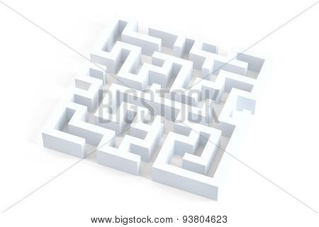 Isolated 3d white maze. 3D illustration. Isolated. Contains clipping path