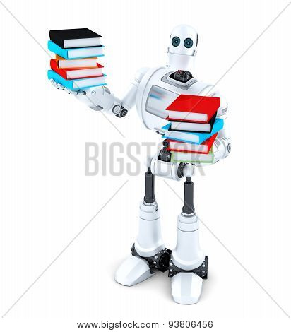 Robot with books. Isolated over white. 3D illustration. Isolated. Contains clipping path