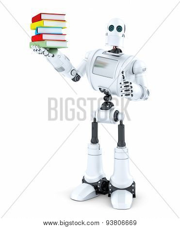 Robot with a pile of books. Isolated on white . Contains clipping path. 3D