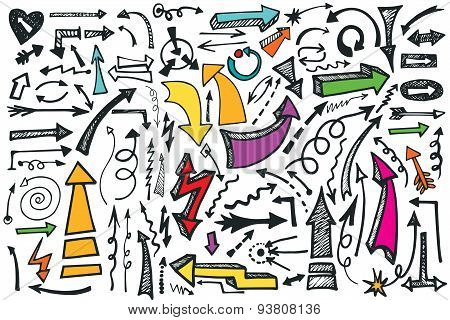 Hand draw Arrows set. Colored Doodle vector