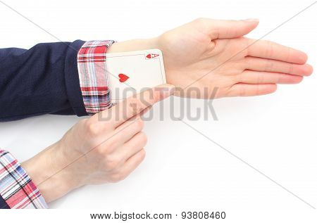 Business Woman Pulls An Ace From His Sleeve. White Background