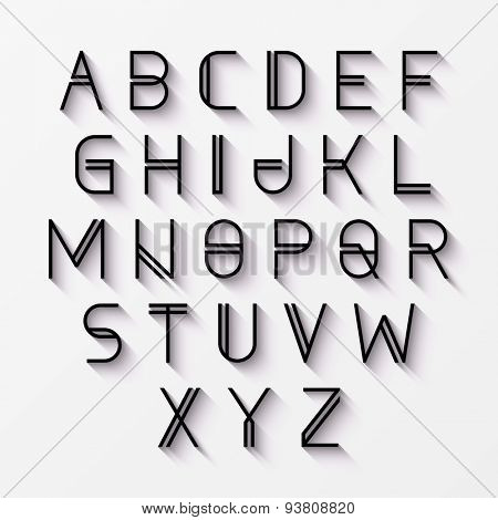 Modern alphabet with shadow effect. Vector.