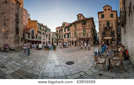 Panorama Of Trg Brace Radic Is A Medieval Square, With A Beautiful Medieval Tower And The Palace Mil