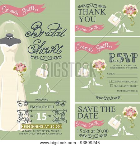 Bridal shower invitation set.Bridal dress,bouquet,accessories