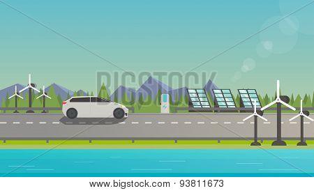 Electromobile On Highway