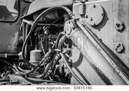 Monochrome Of An Industrial Machines Engine Compartment
