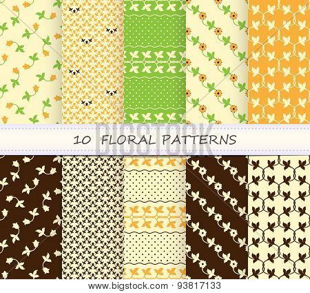 set of summer seamless floral pattern, brown, green and orange