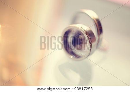 Beautiful Wedding Rings On Table