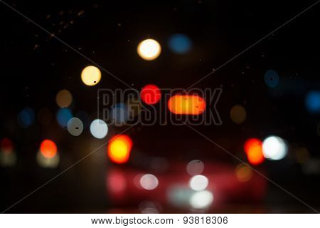 City night light blur bokeh bokeh background.
