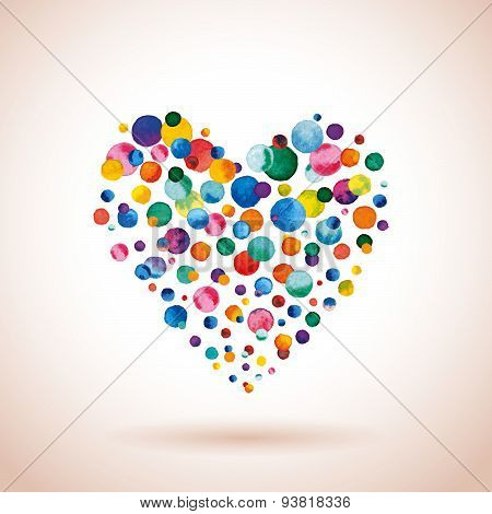 Watercolor rainbow colored confetti heart. Vector illustration poster
