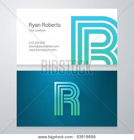 Letter R Business Card Template