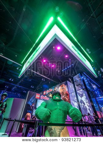 LOS ANGELES - June 17: Statue of Hulk made of lego blocks at the E3 2015 expo. Electronic Entertainment Expo, commonly known as E3, is an annual trade fair for the video game industry