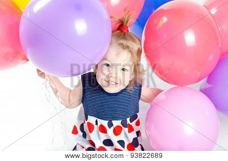 Baby Girl And Ballons