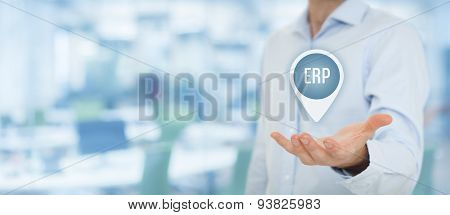 Enterprise resource planning ERP concept. Businesswoman offer ERP business management software for collect store manage and interpret business data. poster