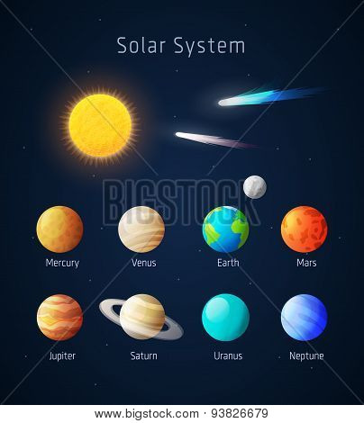 Realistic Solar System objects, vector on blue poster