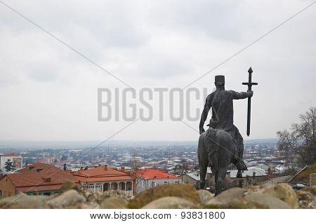 Telavi, Georgia - Feb, 28 2015: King Irakli II Monument in Telavi, Georgia. Back view
