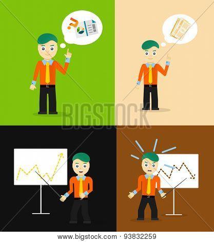 Set of cute cartoon young businessmen. Idea concept and finance report graph. Vector flat design