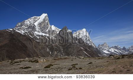 Cholatse and other high mountains in the Everest Region. Beautiful scenery near Pheriche, Nepal. poster