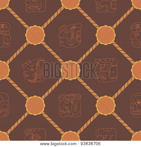 Seamless background with Maya head numerals glyphs for your design poster