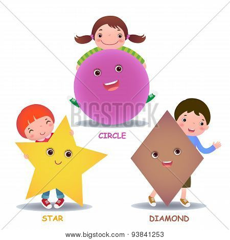 Cute Little Cartoon Kids With Basic Shapes (star, Circle, Diamond)