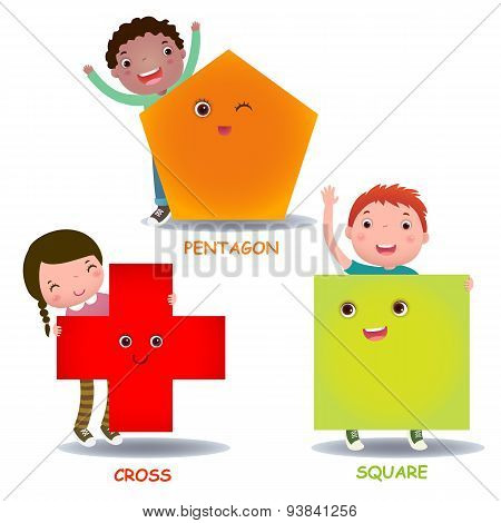 Cute Little Cartoon Kids With Basic Shapes (square, Cross, Pentagon)