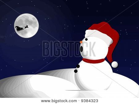 Snowman sees Santa