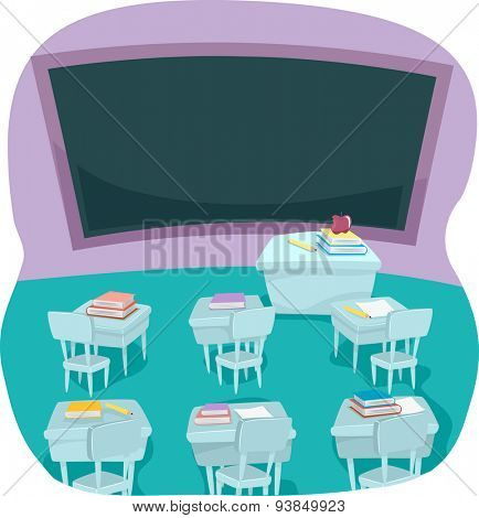Illustration of an Empty Classroom with Tables Covered with Books